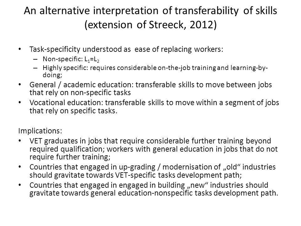 An alternative interpretation of transferability of skills (extension of Streeck, 2012) Task-specificity understood as ease of replacing workers: – No