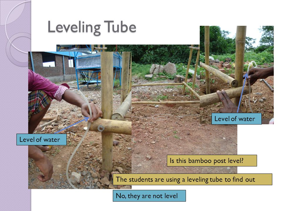Leveling Tube Level of water No, they are not level What will they need to do to make it level