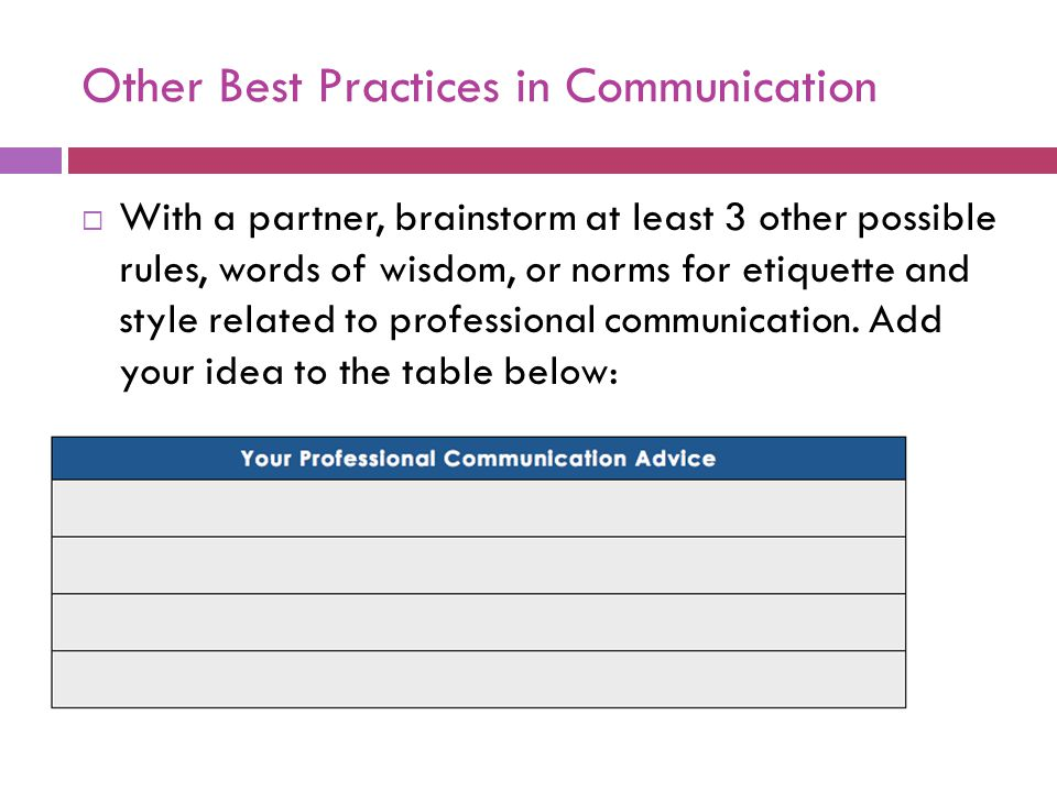 Other Best Practices in Communication  With a partner, brainstorm at least 3 other possible rules, words of wisdom, or norms for etiquette and style