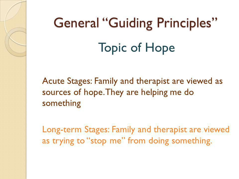 General Guiding Principles Topic of Hope Acute Stages: Family and therapist are viewed as sources of hope.