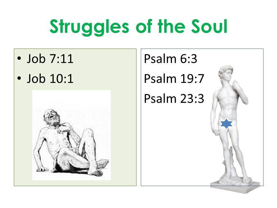 Struggles of the Soul Job 7:11 Job 10:1 Psalm 6:3 Psalm 19:7 Psalm 23:3