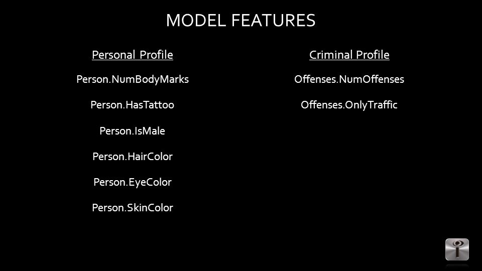 MODEL FEATURES Personal Profile Person.NumBodyMarks Person.HasTattoo Person.IsMale Person.HairColor Person.EyeColor Person.SkinColor Criminal Profile Offenses.NumOffenses Offenses.OnlyTraffic