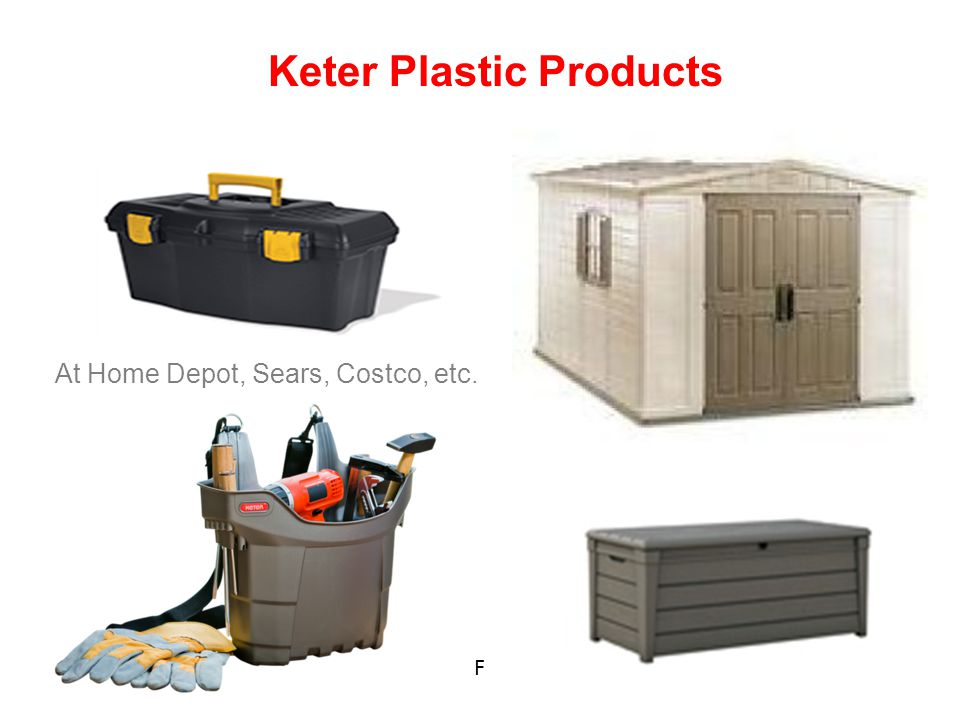 Keter Plastic Products F At Home Depot, Sears, Costco, etc.