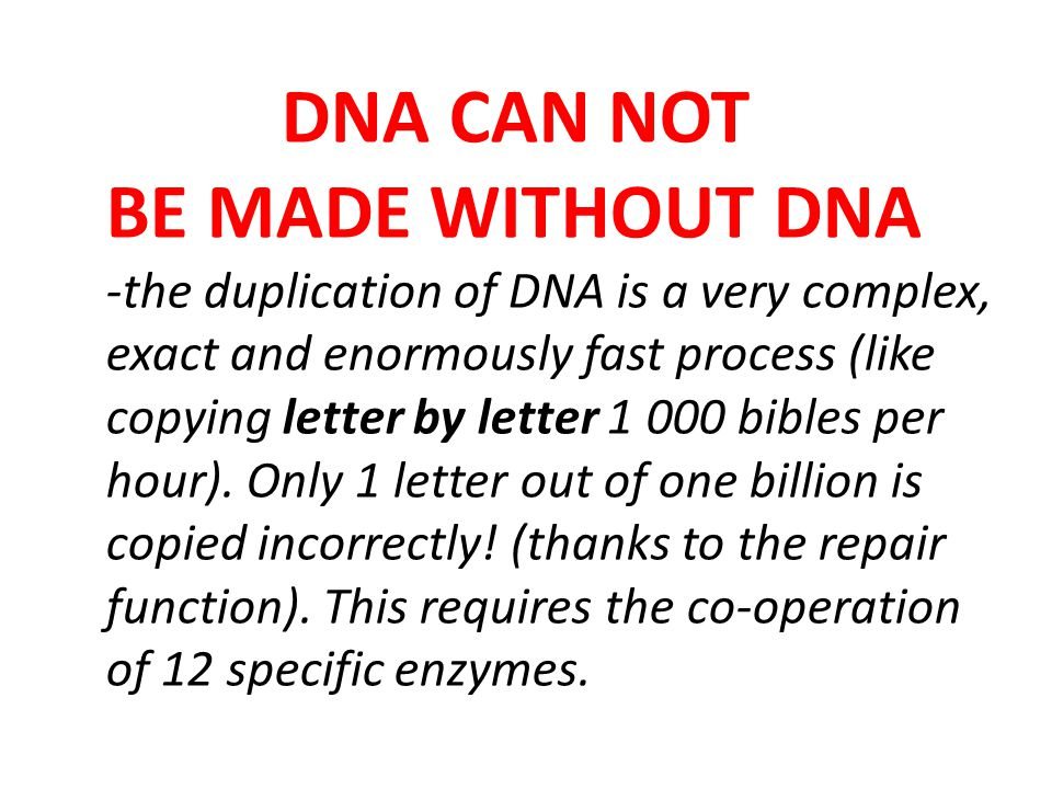 DNA CAN NOT BE MADE WITHOUT DNA -the duplication of DNA is a very complex, exact and enormously fast process (like copying letter by letter 1 000 bibles per hour).