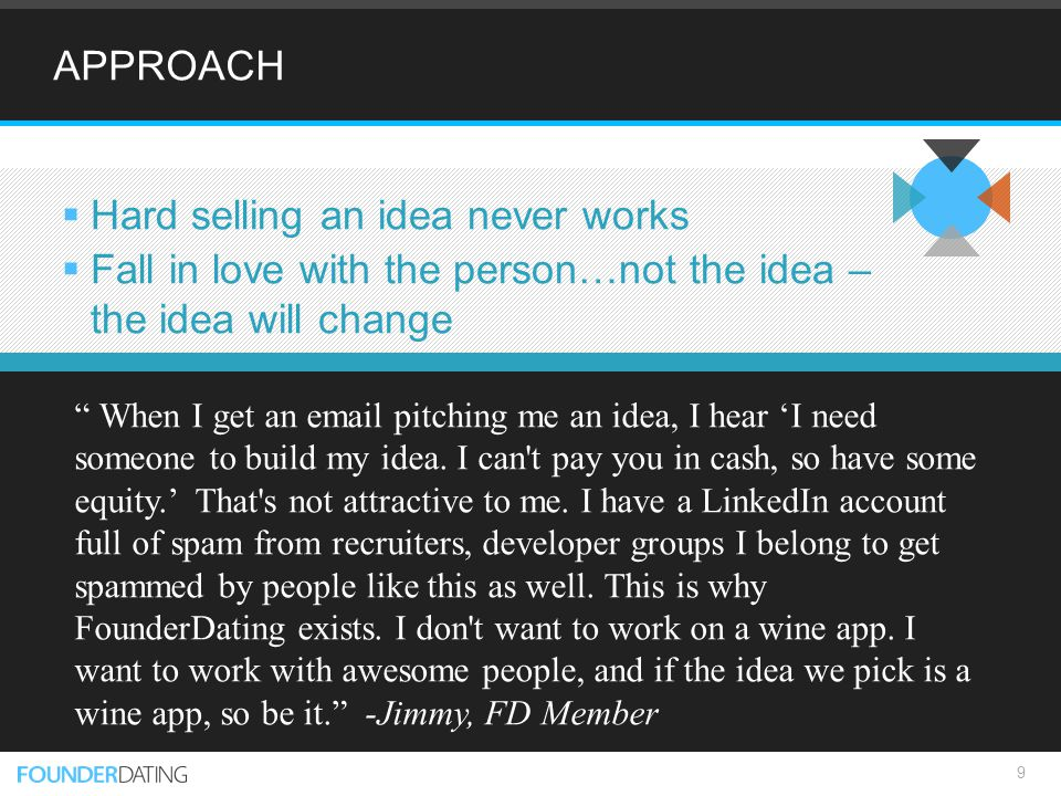 APPROACH  Hard selling an idea never works  Fall in love with the person…not the idea – the idea will change 9 When I get an email pitching me an idea, I hear 'I need someone to build my idea.