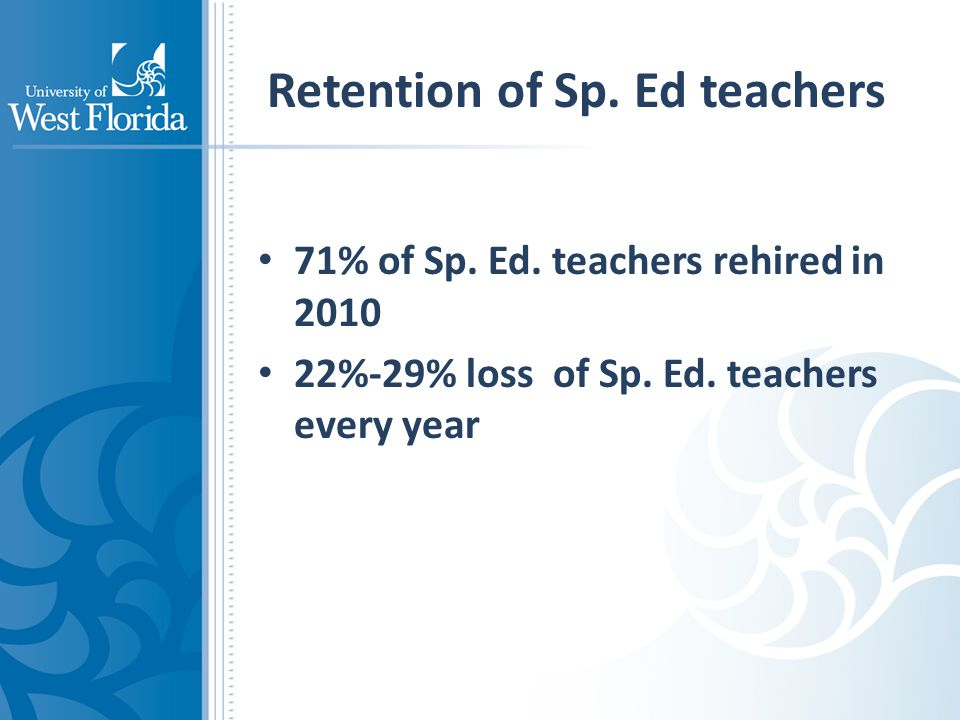 Retention of Sp. Ed teachers 71% of Sp. Ed. teachers rehired in 2010 22%-29% loss of Sp.