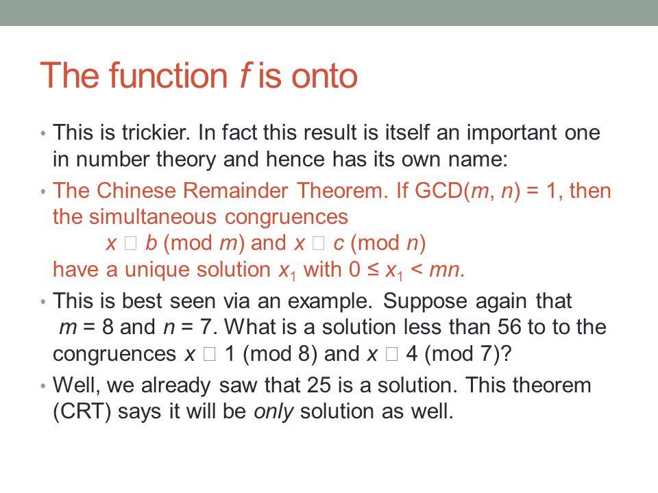 An algorithm to solve simultaneous congruences Consider again x  1 (mod 8) and x  4 (mod 7).
