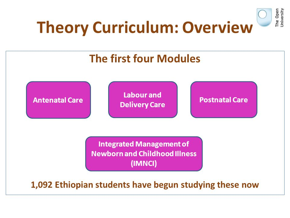 Theory Curriculum: Overview The first four Modules 1,092 Ethiopian students have begun studying these now Antenatal Care Labour and Delivery Care Post