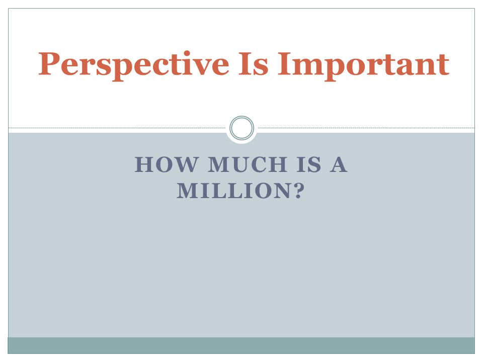 HOW MUCH IS A MILLION Perspective Is Important