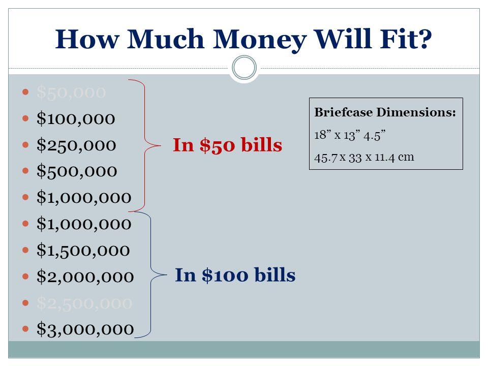 How Much Money Will Fit? $50,000 $100,000 $250,000 $500,000 $1,000,000 $1,500,000 $2,000,000 $2,500,000 $3,000,000 In $50 bills In $100 bills Briefcas
