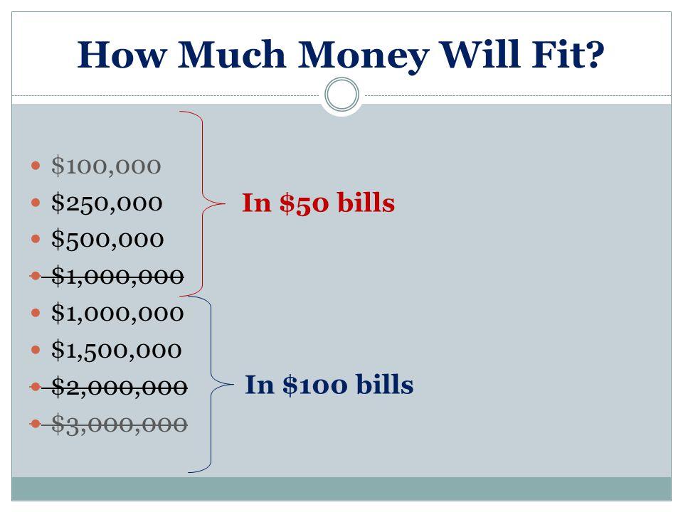 How Much Money Will Fit? $100,000 $250,000 $500,000 $1,000,000 $1,500,000 $2,000,000 $3,000,000 In $50 bills In $100 bills