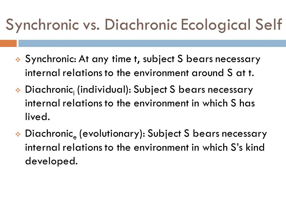An Argument for the Diachronic (Evolutionary) Ecological Self  Diachronic e (evolutionary): Subject S bears necessary internal relations to the environment in which S's kind developed.
