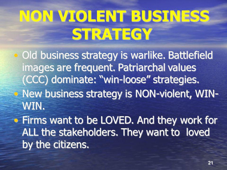 21 NON VIOLENT BUSINESS STRATEGY NON VIOLENT BUSINESS STRATEGY Old business strategy is warlike. Battlefield images are frequent. Patriarchal values (