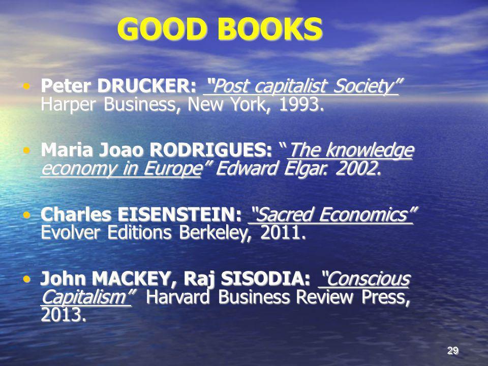 29 GOOD BOOKS Peter DRUCKER: Post capitalist Society Harper Business, New York, 1993.Peter DRUCKER: Post capitalist Society Harper Business, New York, 1993.