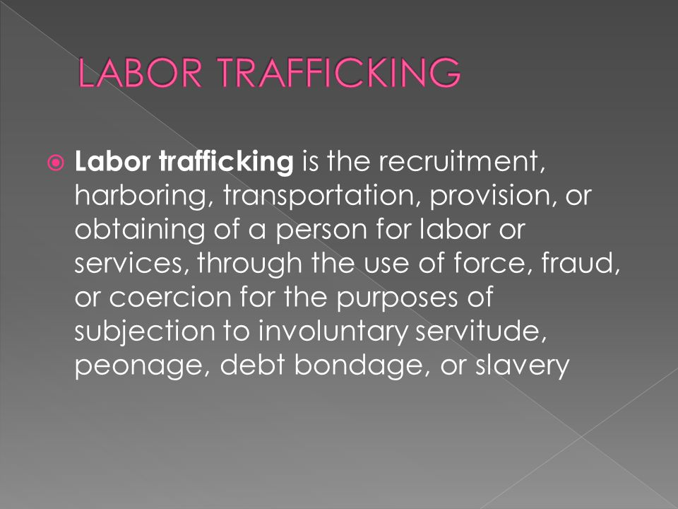  Labor trafficking is the recruitment, harboring, transportation, provision, or obtaining of a person for labor or services, through the use of force, fraud, or coercion for the purposes of subjection to involuntary servitude, peonage, debt bondage, or slavery