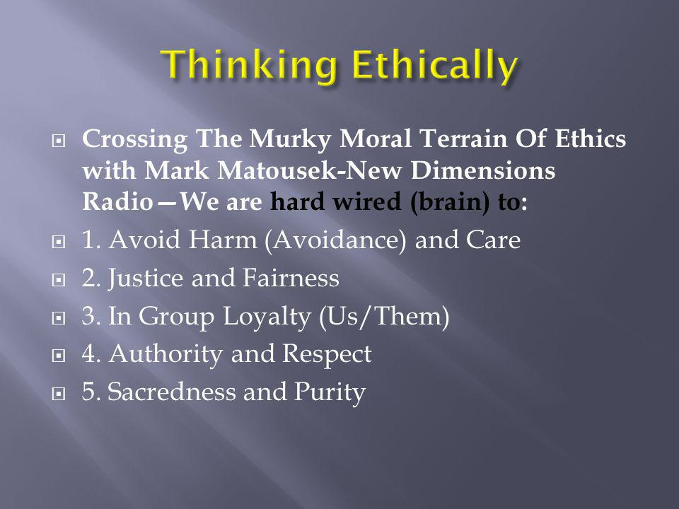  Crossing The Murky Moral Terrain Of Ethics with Mark Matousek-New Dimensions Radio—We are hard wired (brain) to:  1. Avoid Harm (Avoidance) and Car