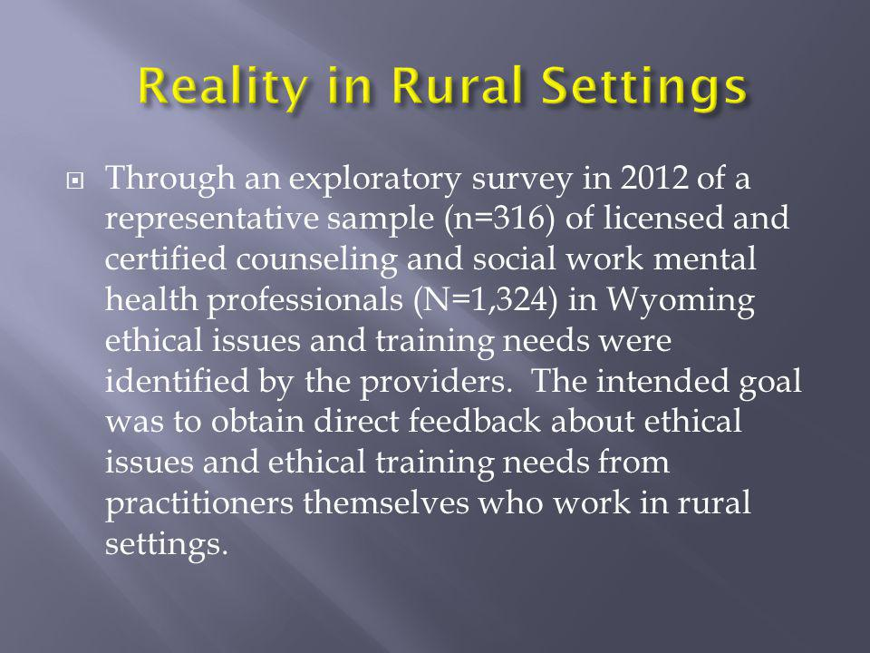  Through an exploratory survey in 2012 of a representative sample (n=316) of licensed and certified counseling and social work mental health professi