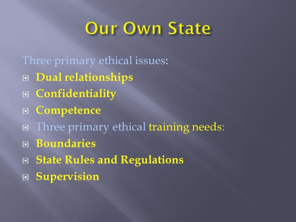 Three primary ethical issues:  Dual relationships  Confidentiality  Competence  Three primary ethical training needs:  Boundaries  State Rules a