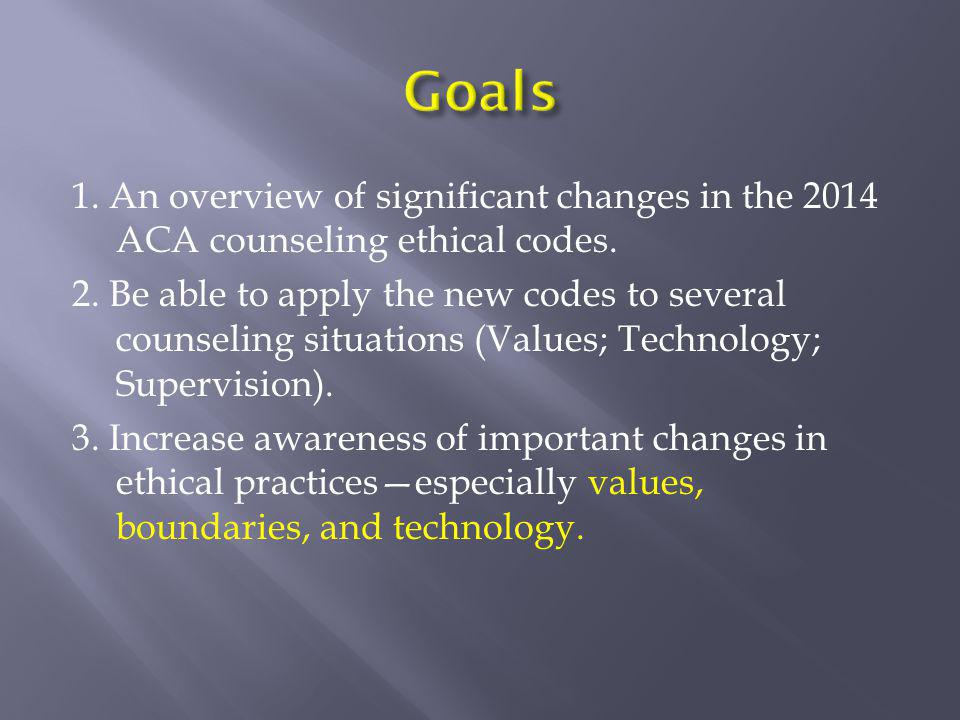 1. An overview of significant changes in the 2014 ACA counseling ethical codes. 2. Be able to apply the new codes to several counseling situations (Va