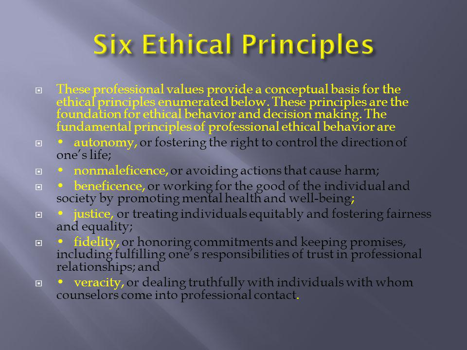  These professional values provide a conceptual basis for the ethical principles enumerated below. These principles are the foundation for ethical be