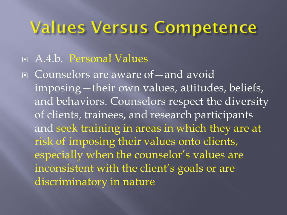  A.4.b. Personal Values  Counselors are aware of—and avoid imposing—their own values, attitudes, beliefs, and behaviors. Counselors respect the dive