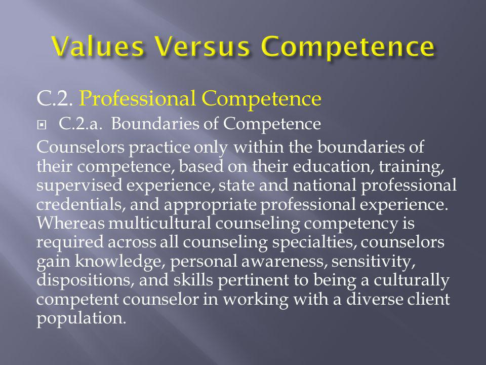 C.2. Professional Competence  C.2.a. Boundaries of Competence Counselors practice only within the boundaries of their competence, based on their educ