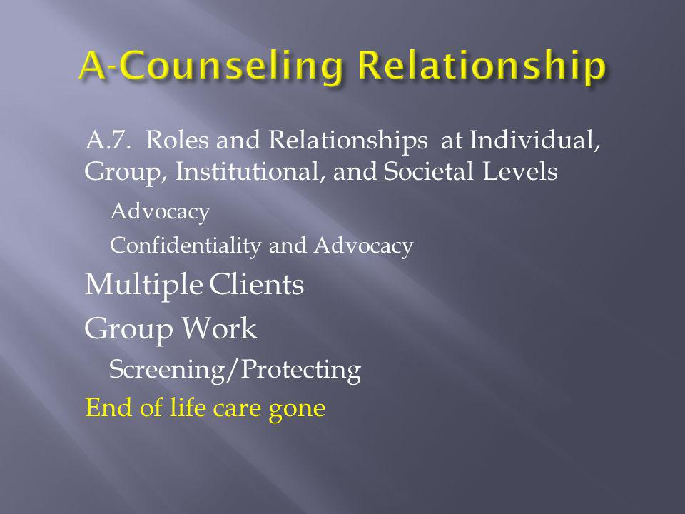 A.7. Roles and Relationships at Individual, Group, Institutional, and Societal Levels Advocacy Confidentiality and Advocacy Multiple Clients Group Wor
