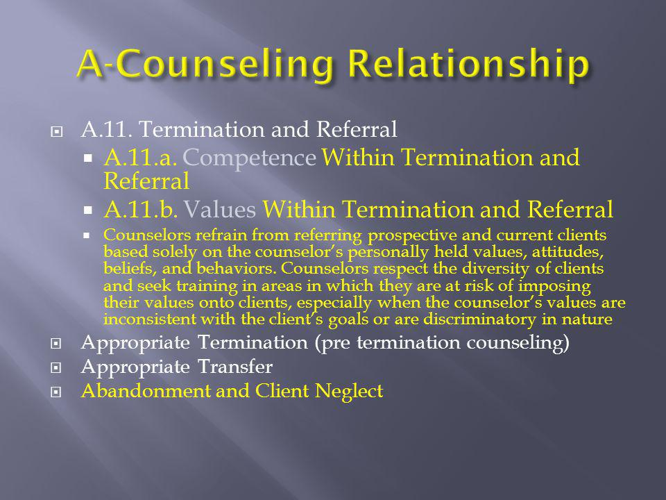 A.11. Termination and Referral  A.11.a. Competence Within Termination and Referral  A.11.b. Values Within Termination and Referral  Counselors re