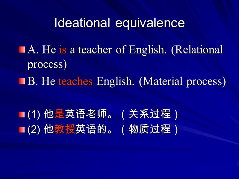 Ideational equivalence A.He is a teacher of English.
