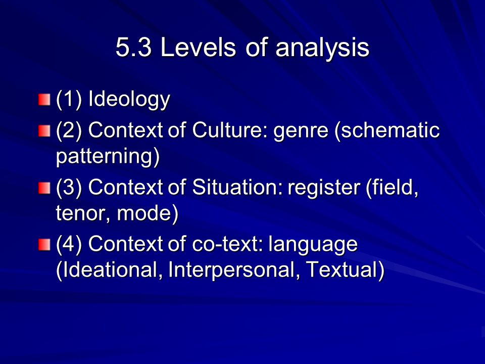 5.3 Levels of analysis (1) Ideology (2) Context of Culture: genre (schematic patterning) (3) Context of Situation: register (field, tenor, mode) (4) C