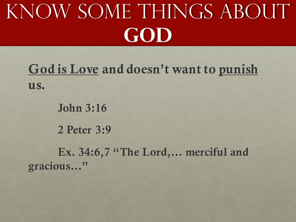 Know Some Things About GOD God is Love and doesn't want to punish us.