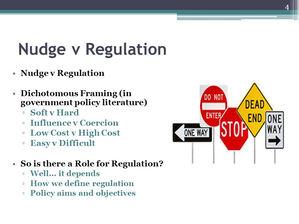 Nudge v Regulation Dichotomous Framing (in government policy literature) ▫Soft v Hard ▫Influence v Coercion ▫Low Cost v High Cost ▫Easy v Difficult So is there a Role for Regulation.
