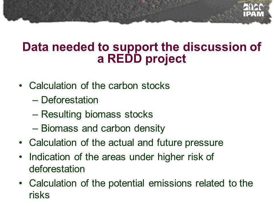Data needed to support the discussion of a REDD project Calculation of the carbon stocks –Deforestation –Resulting biomass stocks –Biomass and carbon