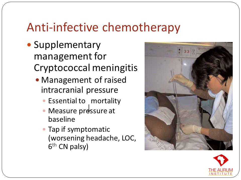Anti-infective chemotherapy Supplementary management for Cryptococcal meningitis Management of raised intracranial pressure Essential to mortality Mea