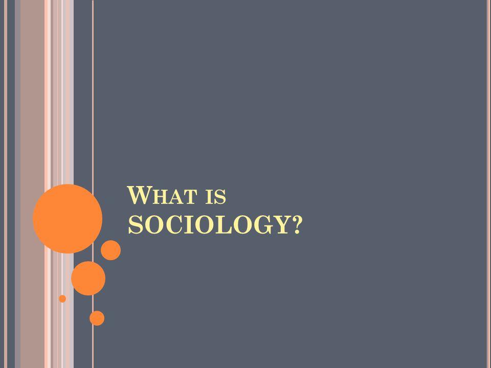 W HAT IS SOCIOLOGY?
