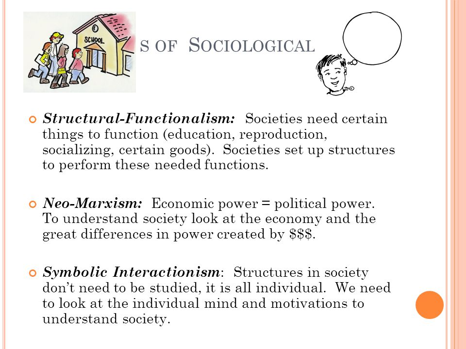 S OF S OCIOLOGICAL Structural-Functionalism: Societies need certain things to function (education, reproduction, socializing, certain goods).