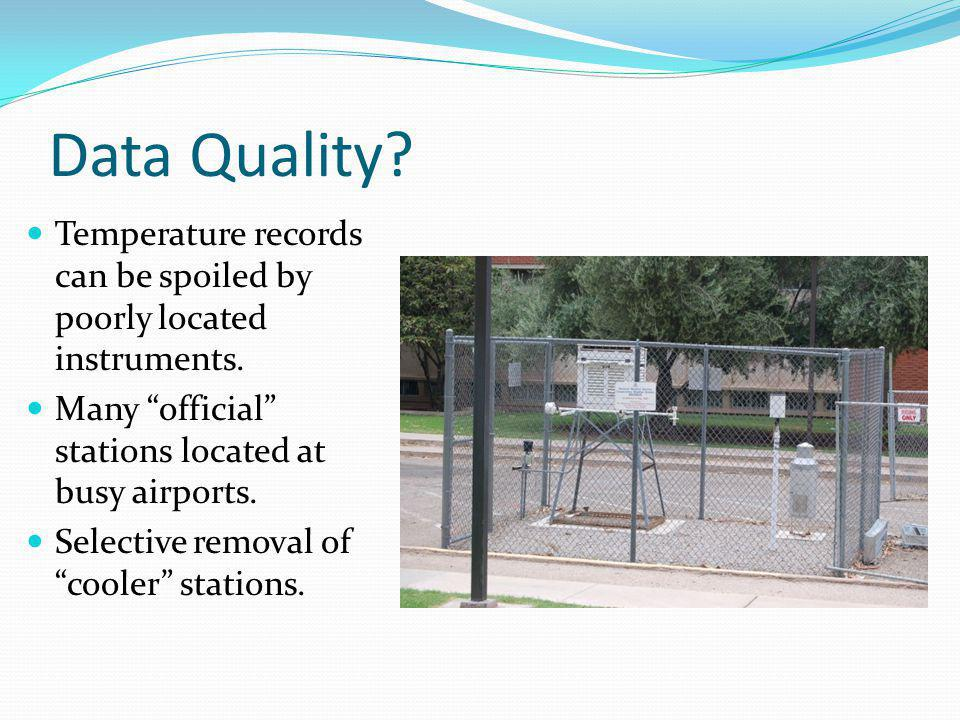 """Data Quality? Temperature records can be spoiled by poorly located instruments. Many """"official"""" stations located at busy airports. Selective removal o"""