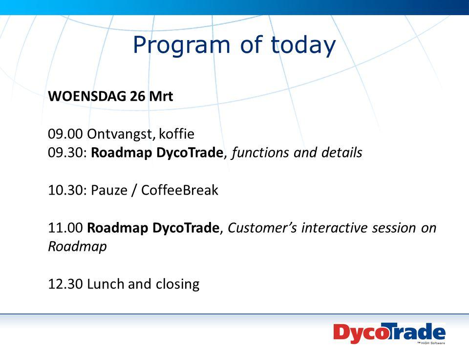 Program of today WOENSDAG 26 Mrt 09.00 Ontvangst, koffie 09.30: Roadmap DycoTrade, functions and details 10.30: Pauze / CoffeeBreak 11.00 Roadmap Dyco