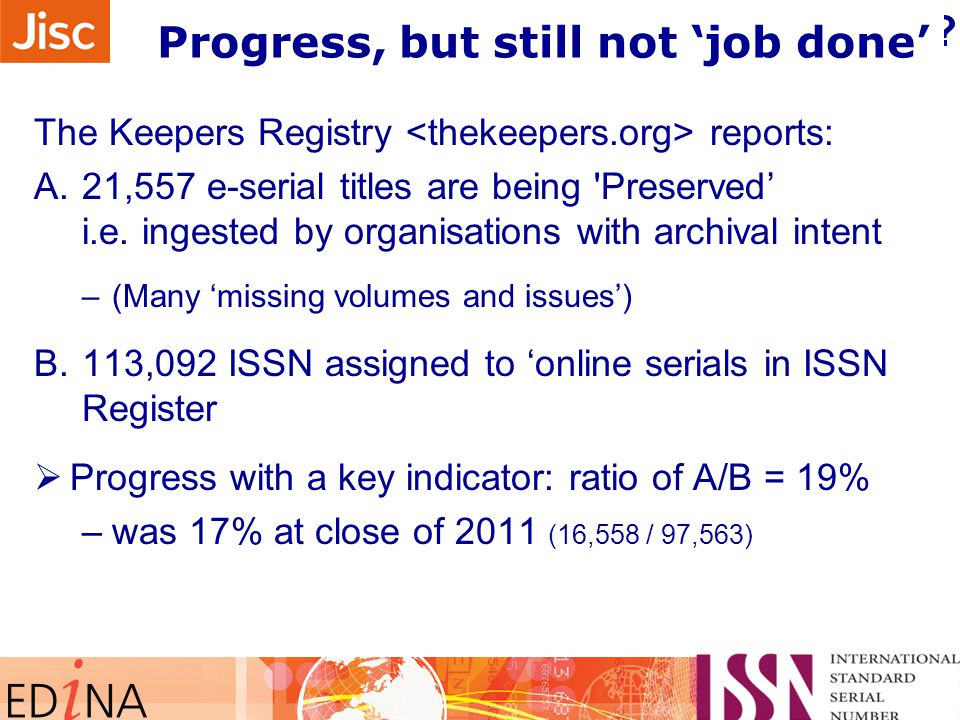 What the Registry tells about progress.
