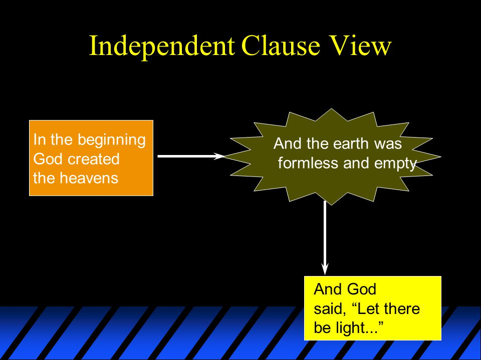 Independent Clause View In the beginning God created the heavens And the earth was formless and empty And God said, Let there be light...