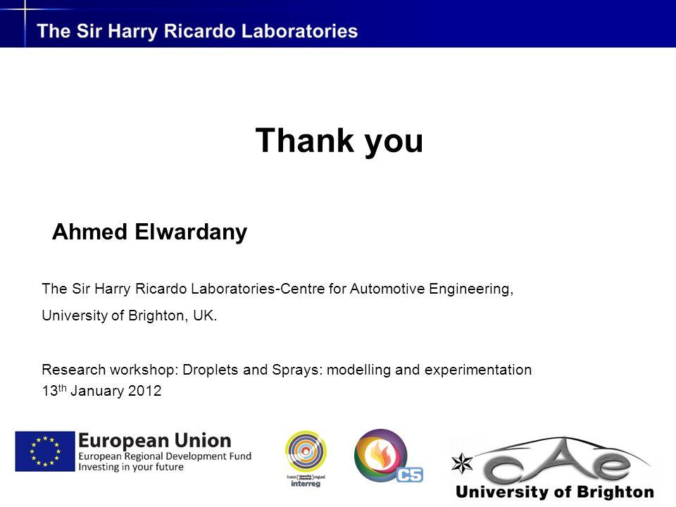 Thank you Ahmed Elwardany The Sir Harry Ricardo Laboratories-Centre for Automotive Engineering, University of Brighton, UK.