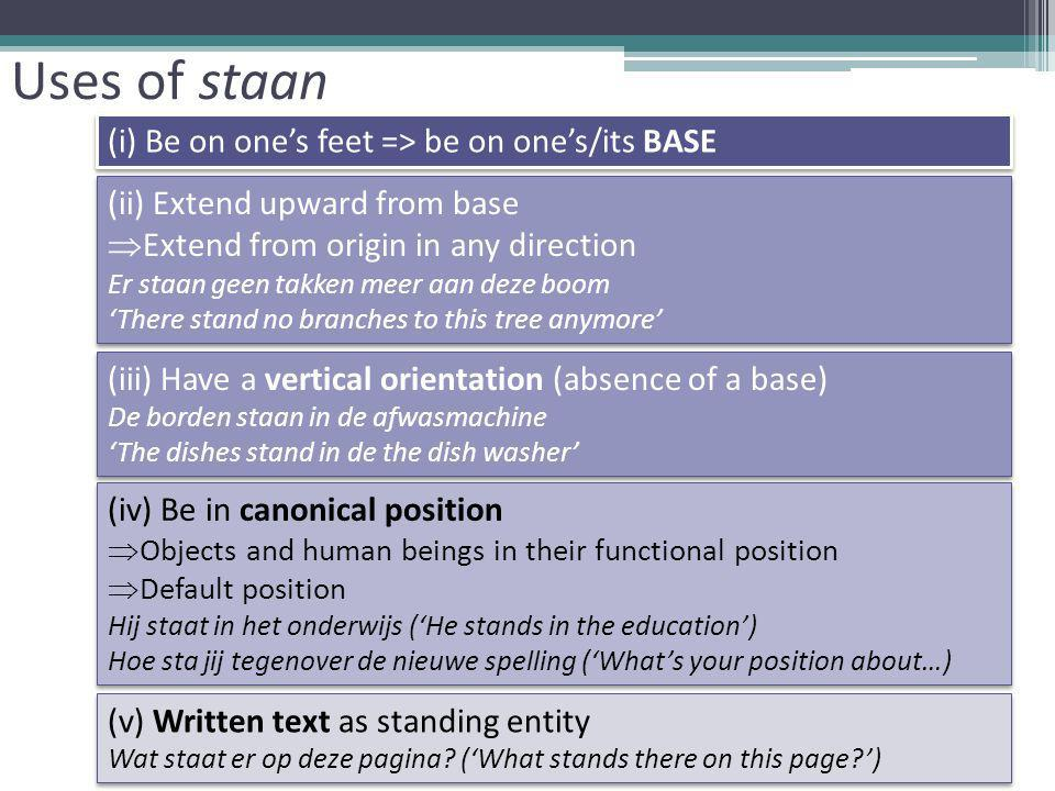 Uses of staan (i) Be on one's feet => be on one's/its BASE (ii) Extend upward from base  Extend from origin in any direction Er staan geen takken meer aan deze boom 'There stand no branches to this tree anymore' (ii) Extend upward from base  Extend from origin in any direction Er staan geen takken meer aan deze boom 'There stand no branches to this tree anymore' (iii) Have a vertical orientation (absence of a base) De borden staan in de afwasmachine 'The dishes stand in de the dish washer' (iii) Have a vertical orientation (absence of a base) De borden staan in de afwasmachine 'The dishes stand in de the dish washer' (iv) Be in canonical position  Objects and human beings in their functional position  Default position Hij staat in het onderwijs ('He stands in the education') Hoe sta jij tegenover de nieuwe spelling ('What's your position about…) (iv) Be in canonical position  Objects and human beings in their functional position  Default position Hij staat in het onderwijs ('He stands in the education') Hoe sta jij tegenover de nieuwe spelling ('What's your position about…) (v) Written text as standing entity Wat staat er op deze pagina.
