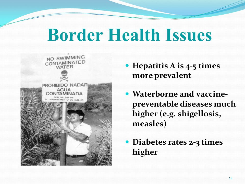 Border Health Issues Hepatitis A is 4-5 times more prevalent Waterborne and vaccine- preventable diseases much higher (e.g.