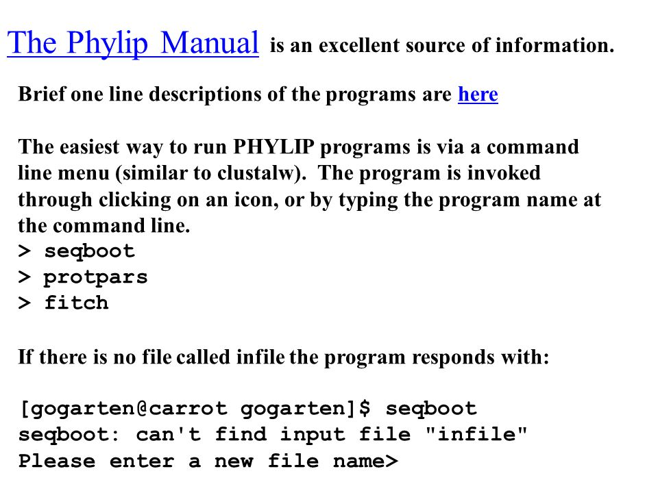 The Phylip Manual is an excellent source of information.
