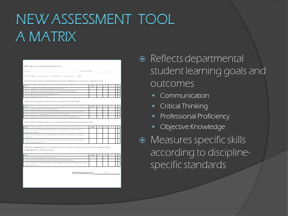  Reflects departmental student learning goals and outcomes Communication Critical Thinking Professional Proficiency Objective Knowledge  Measures specific skills according to discipline- specific standards  Allows individual faculty to adjust for specific assignments