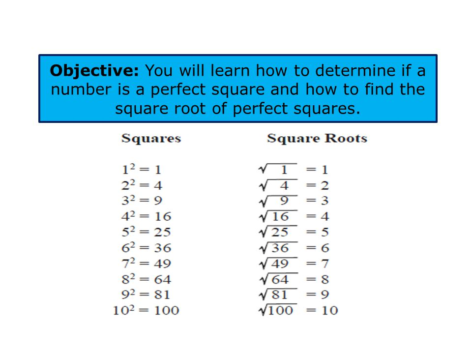 Perfect Squares and Square Roots Squares: Special rectangles where all four sides are congruent