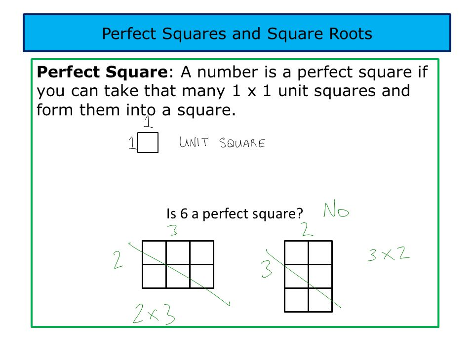 Perfect Square: A number is a perfect square if you can take that many 1 x 1 unit squares and form them into a square. Is 6 a perfect square? Perfect