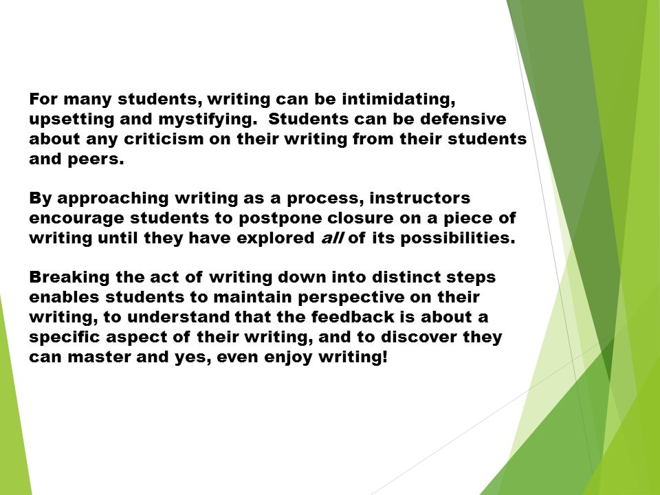 For many students, writing can be intimidating, upsetting and mystifying. Students can be defensive about any criticism on their writing from their st
