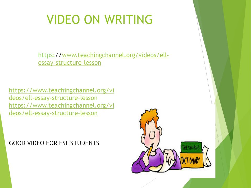 VIDEO ON WRITING https://www.teachingchannel.org/vi deos/ell-essay-structure-lesson https://www.teachingchannel.org/vi deos/ell-essay-structure-lesson
