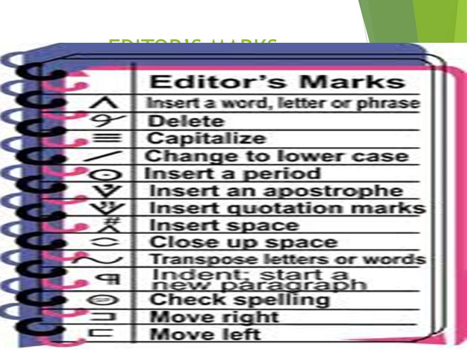 EDITOR'S MARKS